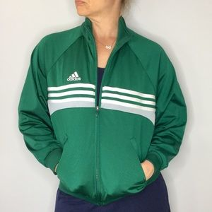 Adidas green classic striped track soccer jacket